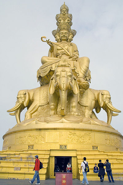 Image 5. Statue of Samantabhadra, Bodhisattva [Chinese Pu-hsein?] on Emei Shan [= Mount Emei], with his six-tusked elephants. Photo by Mike Lowell. (title amended by author)
