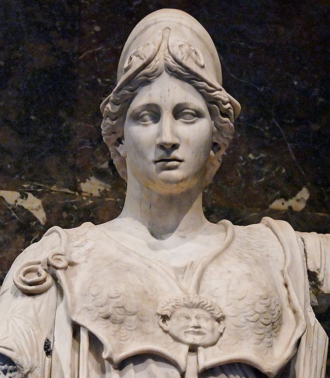 Image 4. Athena of the Hope-Farnese type. Marble, Roman copy from the 1st–2nd centuries AD after a Greek original, probably the late 5th century BC bronze cult-statue of Athena Itonia (near Koroneia) by Agoracritos, described by Pausanias (IX, 34, 1). The antique head, of the Mattei type, does not belong to the statue, in the Louvre Museum, Paris, France. Photo by Jastrow.