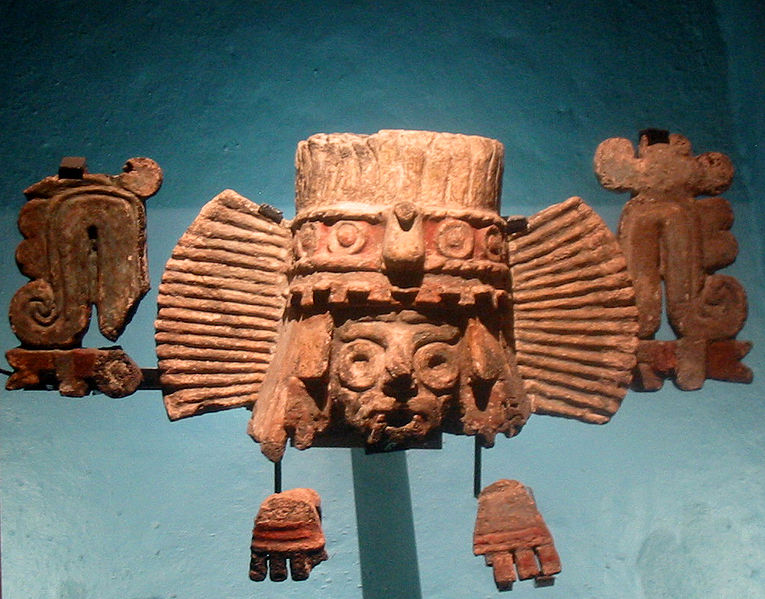 Image 2. Fragments of a brazier depicting Tlaloc from Stage IVB of the Templo Mayor in Mexico City [Mexico]. Photo by Thelmadatter, graphically enhanced by Maunus.