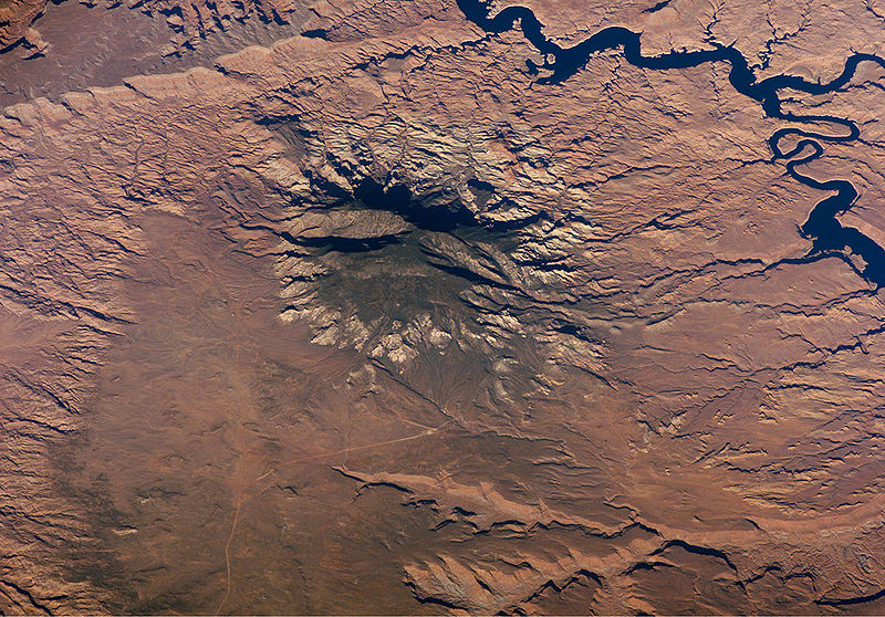 Image 3. Astronaut's satellite photo of Navajo Mountain and environs. Located in southeast Utah (left-south slope in Arizona). San Juan River goosenecks in upper right, Lake Powell at top. In the physiographic Canyon Lands Section [USA]. Photo by ISS Crew Earth Observations experiment and the Image Science & Analysis Group, Johnson Space Center.