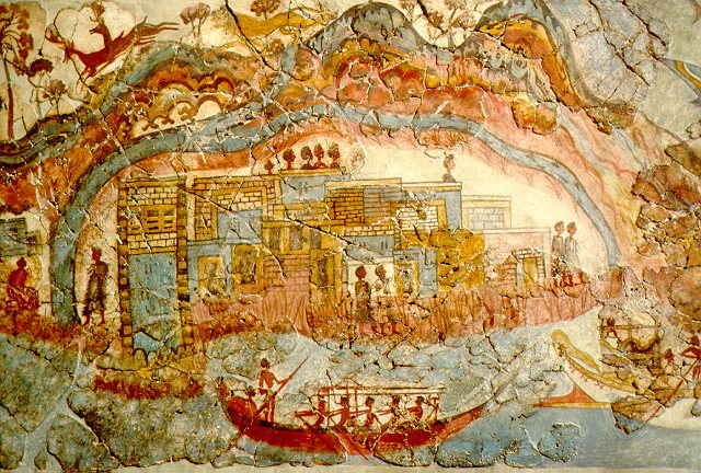 Image 1. Minoan fresco, seemingly showing a peak sanctuary, Akrotiri, Santorini, Greece. Photographer not given. (title by author)