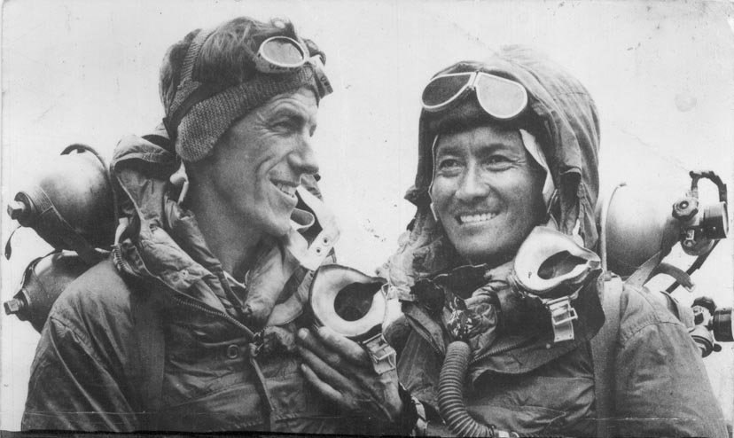 Image 14. First successful ascent [of Mount Everest] by Tenzing [Norgay] and [Edmund] Hillary [in 1953]. Photo by Jamling Tenzing Norgay.