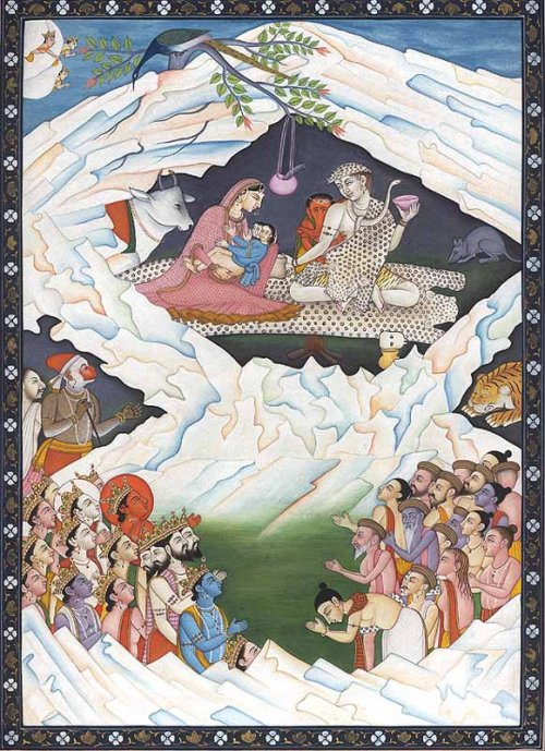Image 12. an illustration of the Hindu significance of Mount Kailash, depicting the holy family: Shiva and Pārvatī, cradling Skanda with Ganesha by Shiva's side, 18th century, provenance unknown. Photographer not given. (title constructed by author)