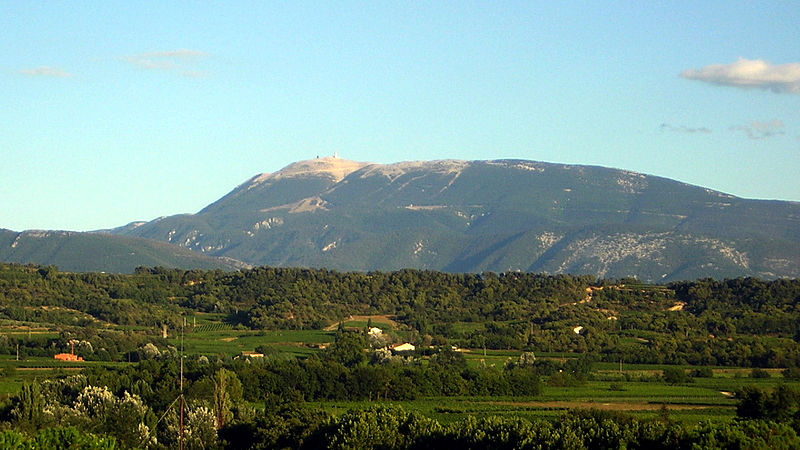 Image 7. View of Mont Ventoux from Mirabel-aux-Baronnies [France]. Photo by en:User:Diniz, August 2004. (title edited by author)