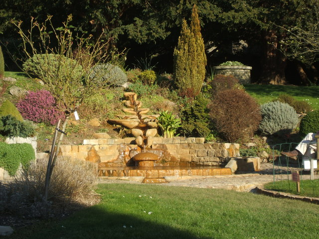 Image 5. The Flow Form and Pool ... in the Chalice Well garden at Glastonbury [Somerset, England]. Photo by Michael Murray. (title edited by author)