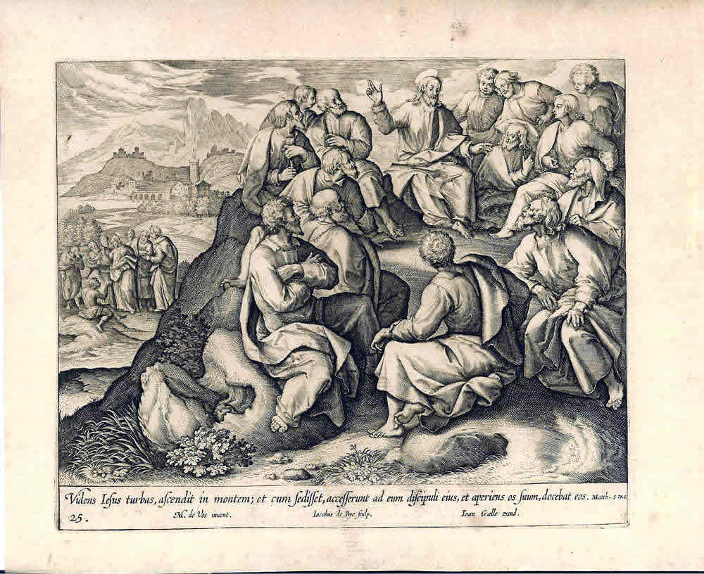 """Image 16. The Sermon on the Mount: """"And seeing the multitudes, he went up into a mountain: and when he was set, his disciples came unto him"""" (Matthew 5:1). Copperplate engraving after: Martin de Vos, engraved by Jacobus de Bye, published by Johannes Galle (d.1676), second half of the Seventeenth century, in a series called """"Vita, Passio, et Resurrectio Jesu Christi"""". Scan by author."""