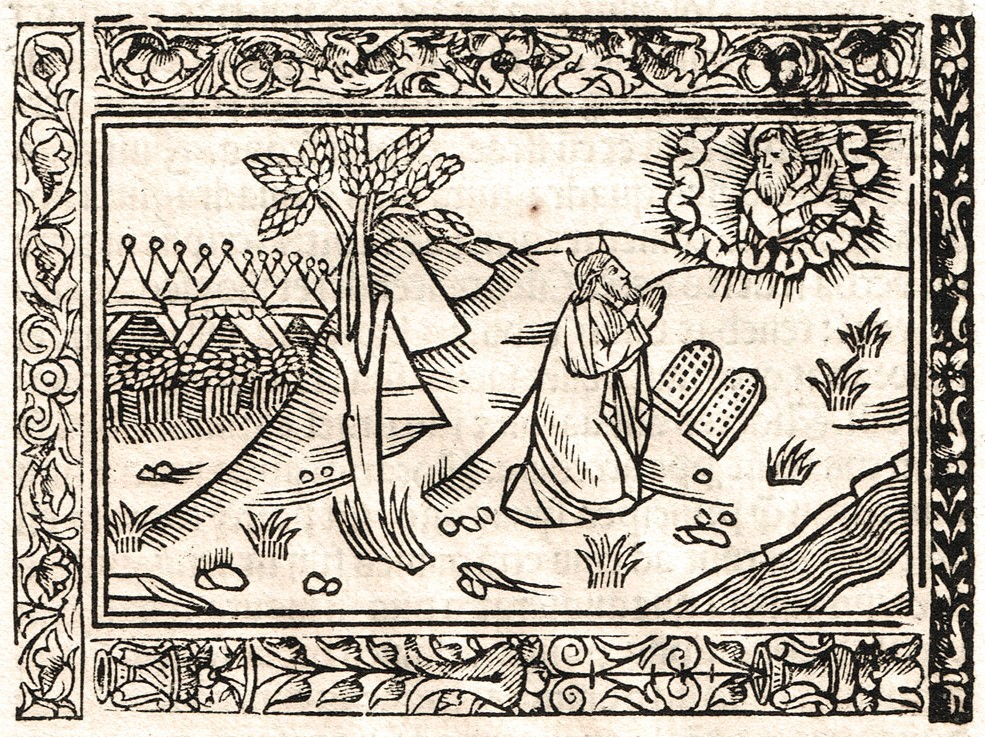 Image 4. Moses receiving the Tablets of the Ten Commandments from the Lord on Mount Sinai showing the Israelite camp below, Exodus 33. (Woodcut {Folio 20} from the Biblia cum concordantiis ceteris et novi testament, Jacobum Sacon for Anthony Koberger, January 12, 1515). Scan by author.