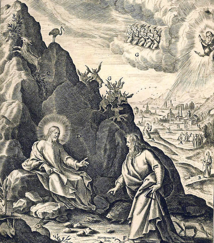Image 10. The Temptation of Christ — (this image was by the Jesuit, Jerome Nadal, meant to be studied on the first Sunday of Lent, {Matthew 4, Mark 4, Luke 1}, year 30 of Jesus' life. (Copper-plate engraving [detail of Plate 12{25}] from the 1647 edition by Joannes Galle of Evangelicae historiae imagines : ex ordine euangeliorum, quae toto anno in missae sacrificio recitantur, in ordinem temporis vitae Christi digestae from the original plates of the Jerome Nadal 1593 edition). Scan by author.
