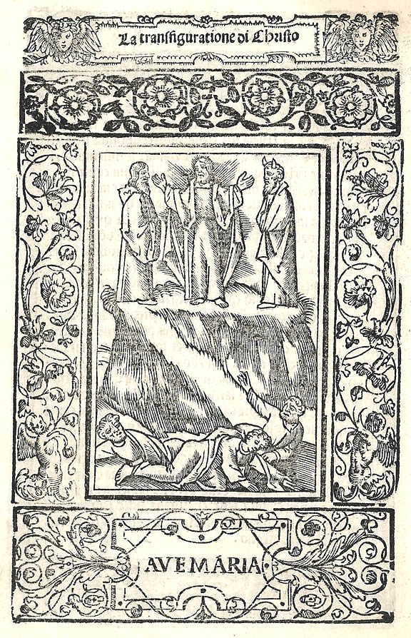 """Image 5. The Transfiguration of Christ on Mount Tabor (Moses shown with horns) (woodcut from the section """"Joyful Mysteries"""" of the Rosary, Rosario della gloriosa verging Maria, Venice 1521). Scan by author."""