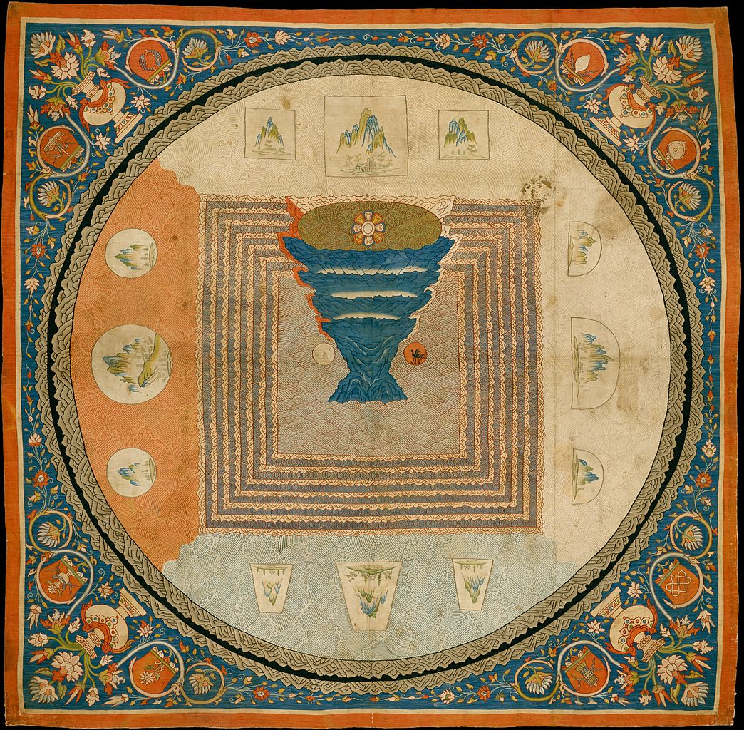"""Image 4. Chinese Silk tapestry depicting Mount Meru. Yuan dynasty (1271–1368). ... 33 x 33 in. (83.8 x 83.8cm). This elaborate tapestry-woven mandala, or cosmic diagram, illustrates Indian imagery introduced into China in conjunction with the advent of Esoteric Buddhism. At the center is the mythological Mount Meru, represented as an inverted pyramid topped by a lotus, a Buddhist symbol of purity. Traditional Chinese symbols for the sun (three-legged bird) and moon (rabbit) appear at the mountain's base. The landscape vignettes at the cardinal directions represent the four continents of Indian mythology but follow the conventions of Chinese-style """"blue-and-green"""" landscapes. The dense floral border derives from imagery of central Tibet, particularly from monasteries with ties to the court of the Yuan dynasty. Photographer not given."""