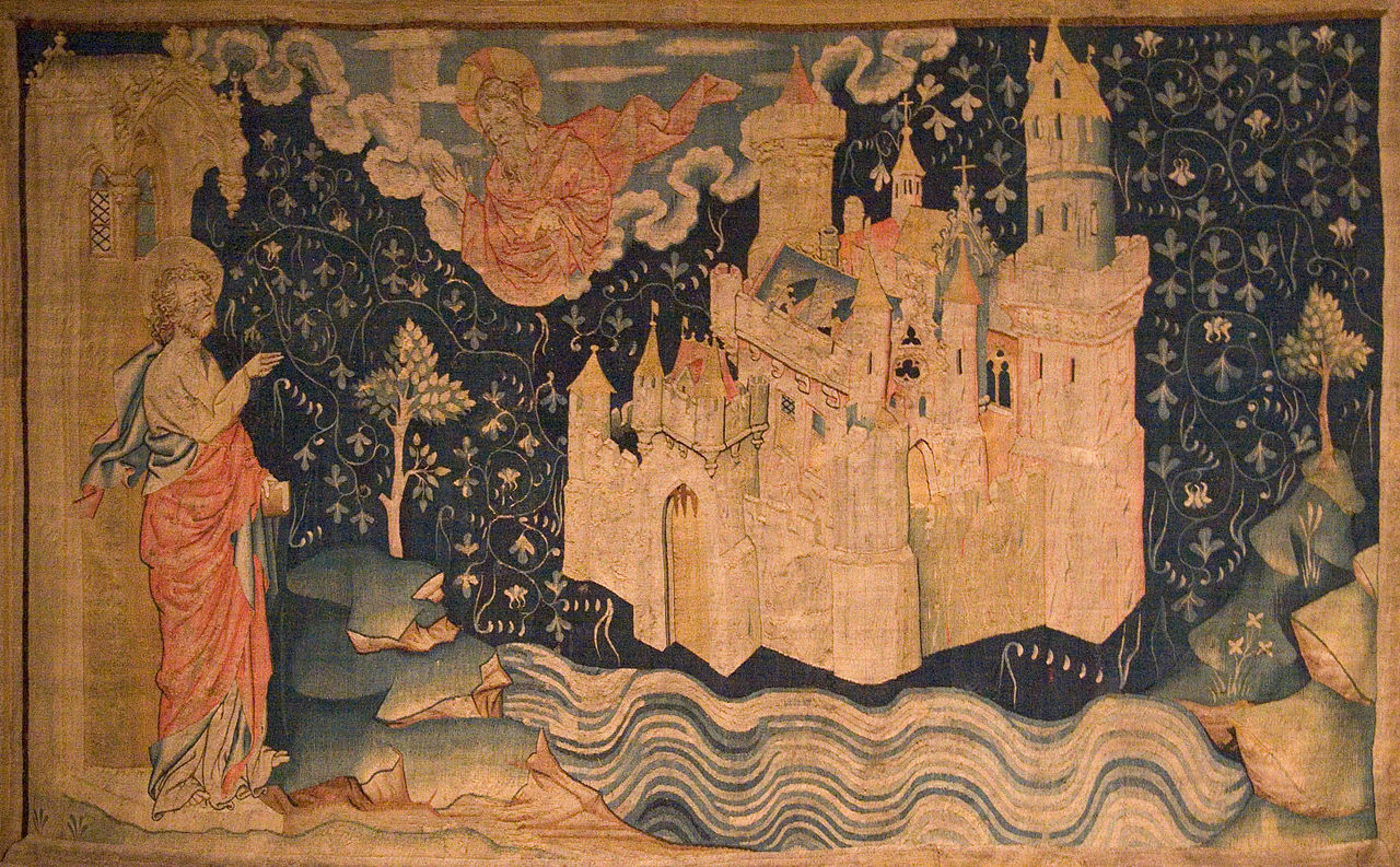 Image 3. John of Patmos watches the descent of the New Jerusalem from God (Tapestry of the Apocalypse, 14th century). Photo by Kimon Berlin, user:Gribeco.