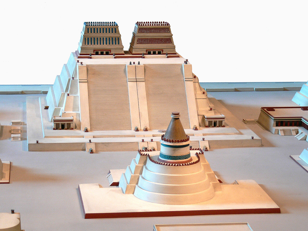 Image 10. National Museum of Anthropology in Mexico City [Mexico]. Reconstruction of the Templo Mayor of Tenochtitlan. Photo by Wolfgang Sauber, derivative work: Joyborg (talk)