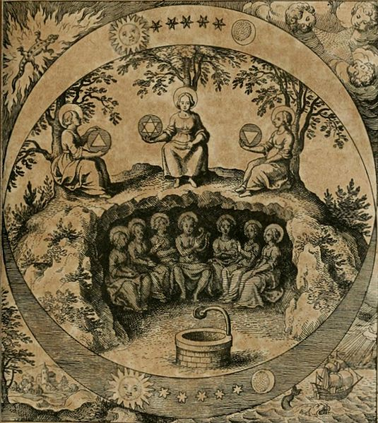 "Image . The Seven Planetary Rulers in Hades [Hades pictured as a mountain on which the Alchemical Work procedes. This is the same mountain described below but not the same illustration]. Illustration from the book ""Musæum Hermeticum reformatum et amplificatum"" (en:Museum Hermeticum [https://en.wikipedia.org/wiki/Musaeum_Hermeticum]), 1625. Image from the Getty Alchemy Collection. (title edited by the author)"