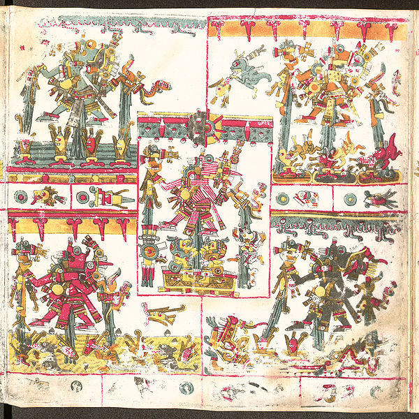 Image 13. Five Tlaloquê depicted in the Codex Borgia, Page 27. Photographer not given.