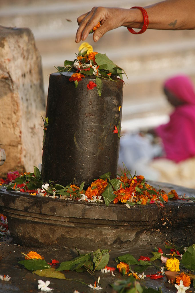 Image 10. A Hindu sculpture of ... Linga [= Lingam] (with traditional flower offering) in Varanasi [Uttar Pradesh, India, but this one is in a city and not part of any mountain worship]. [Though the Lingam has symbolic meaning, this photo reminds us that the ceremony is not just an abstract, mental exercise and that the lingam is not merely a symbol — it has a physical, sensual presence and reality.] Photo by Yosarian.