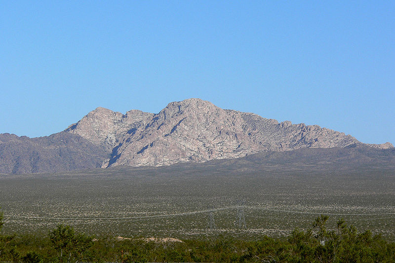 Image 4. Spirit Mountain [Avikwame Mountain] from the west, Newberry Mountains, southern Nevada [USA]. Photo by Stan Shebs.