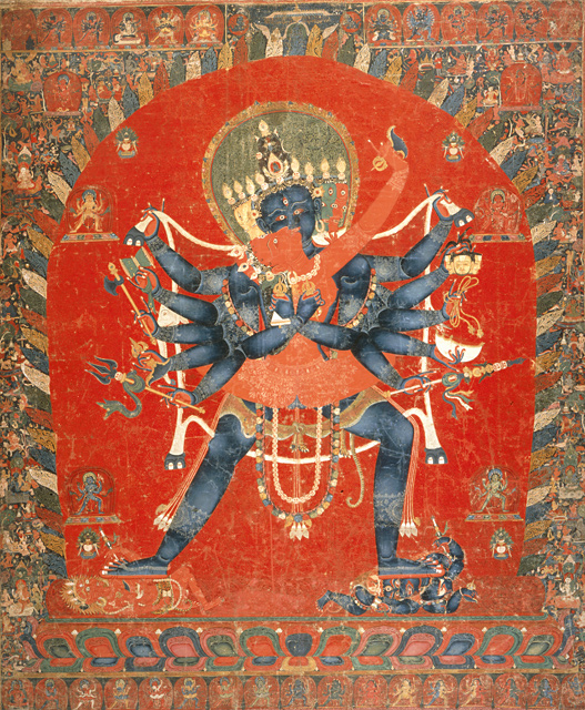 Image 2. Saṃvara [= Cakrasaṃvara = Khorlo Déchok = Demchog] with Vajravārāhī in Yab-Yum [= the sexual union of deities, that is, a hierogamos]. Painting; Thangka, Mineral pigments and traces of gold on cotton cloth, 54 x 45 in. (137.16 x 114.3 cm), ca. 15th century, a Newar artist from Tibet. From the collection of the Los Angeles County Museum of Art.