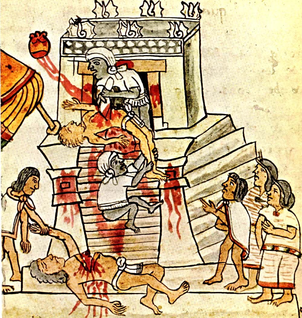 Image 8. Aztec ritual human sacrifice as shown in the Codex Magliabechiano, Folio 70. ... Photographer not given.