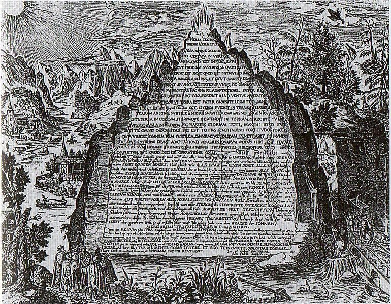 Image 10. An imaginative 17th century depiction of the Emerald Tablet from the work of Heinrich Khunrath, 1606 [showing the Emerald Tablet inside a mountain. Photographer not given.