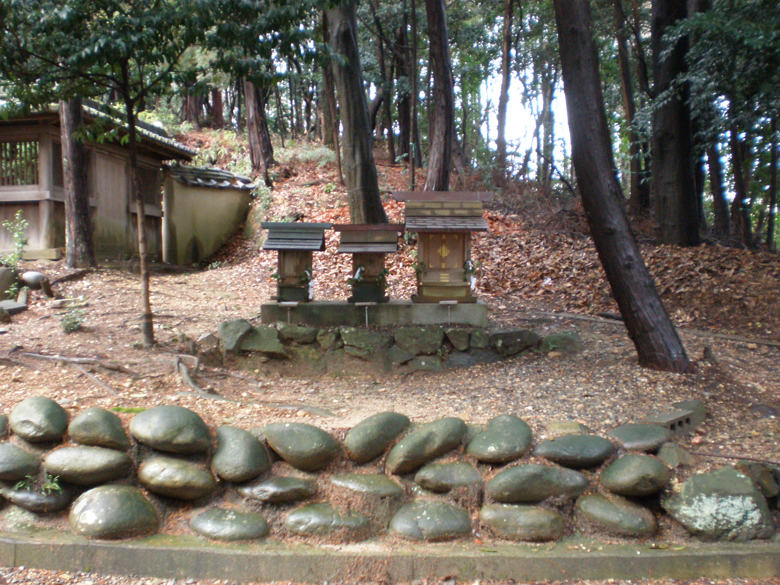 Image 12. 愛知県小牧市の八所神社にある祠 = Three hokora [= miniature Shinto shrines that are houses for kami] on a country road in the Hachi-sho Shrine Komaki, Aichi Prefecture, Japan. Photo by KKPCW