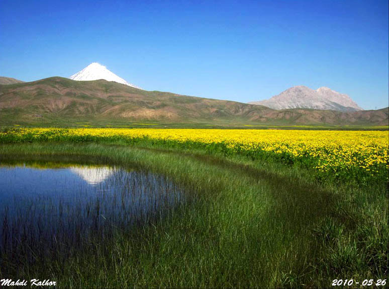 """Image 7. Lar plain and its beautiful lake [there is no reason to think this is the probably mythical lake called Arêdvîvsûr mentioned below, but it is suggestive of it — Mount Damavand, the highest mountain of the Alborz (Albûrz) Range is in the background] lie in a distance of 70 km from the eastern Tehran. The plain is in fact the biggest valley of Iran, and therefore called a plain. The most beautiful landscapes in Iran can be viewed from Lar plain. Numerous springs in the plain have brought it the name """"Land of A Thousand Springs"""" and it is also called Lar-e-Divaneh (Crazy Lar) because of its unstable climate. ... Photo by Mahdi Kalhor."""