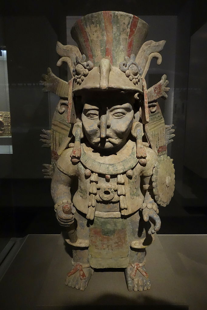 Image 6. Mayan-style incense burner in the form of the rain god, Chahk, Mexico, Eastern Yucatan, Late Postclassic Maya, 1100-1300 AD, earthenware and pigment - De Young Museum - DSC00590 [not noted if used on a mountain or not]. Photo by Dadero.