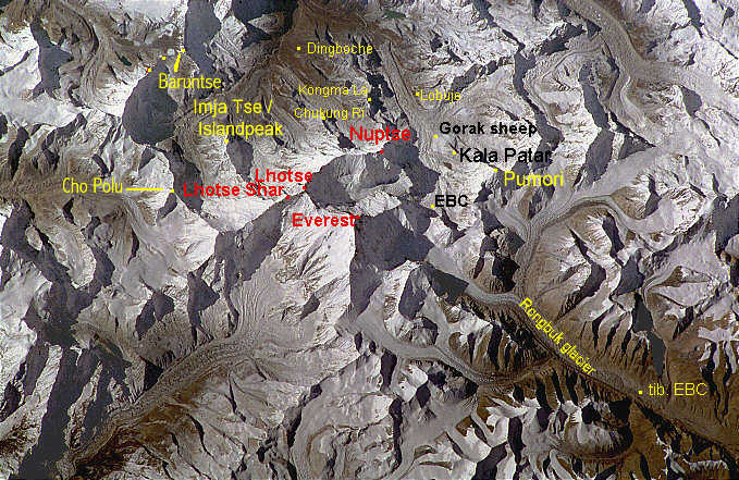 Image 1. Space picture of the Mount Everest area, Nepal, Tibet [?] and the Himalaya. Image courtesy of Earth Sciences and Image Analysis Laboratory, NASA Johnson Space Center, USA.