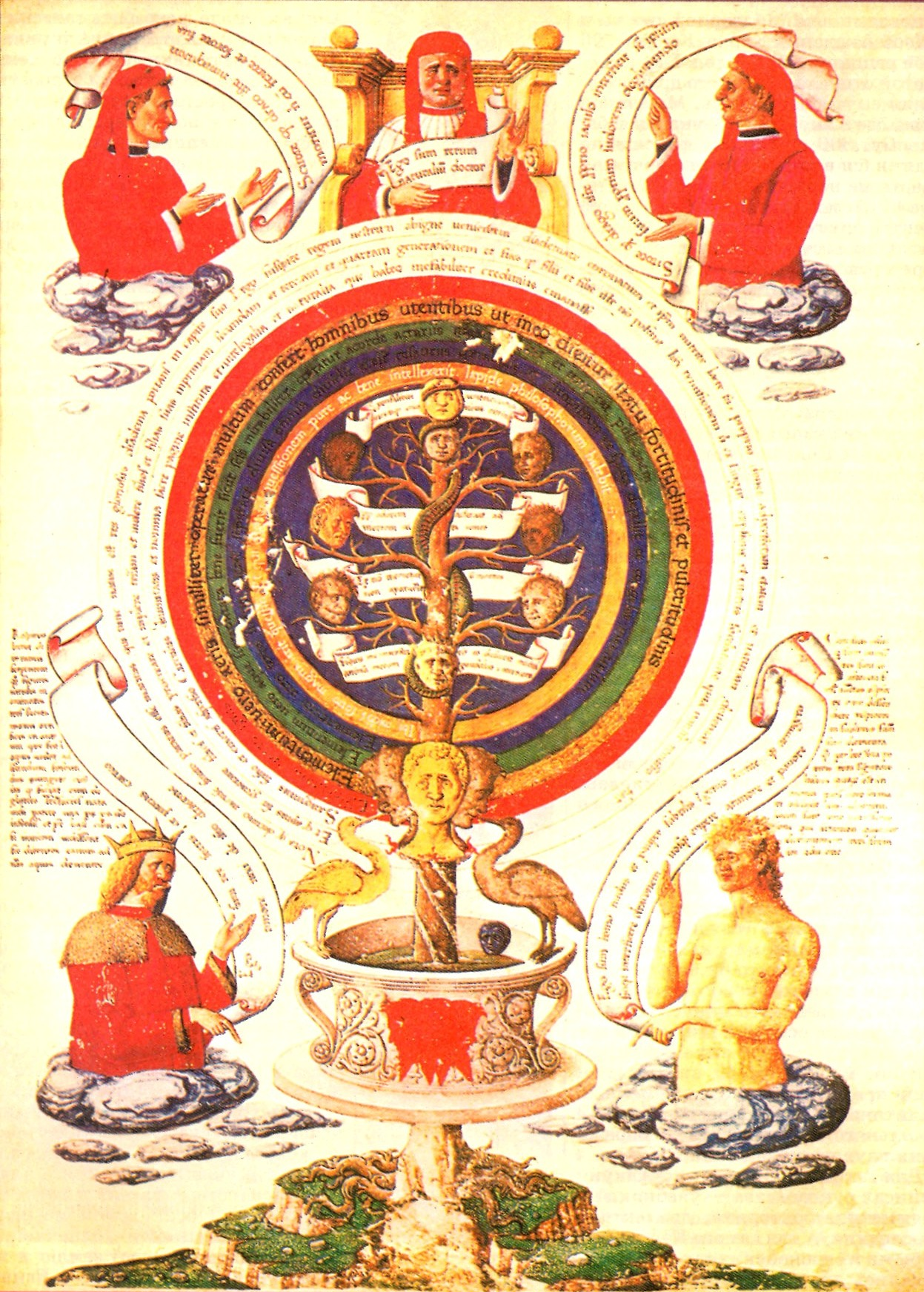 Image 9. Page from alchemic treatise of Ramon Llull [ca. 1232-ca. 1315, born in the Kingdom of Majorca], [manuscript illustration] 16th century [showing alchemical knowledge growing from a mountain]. Scanner not given.
