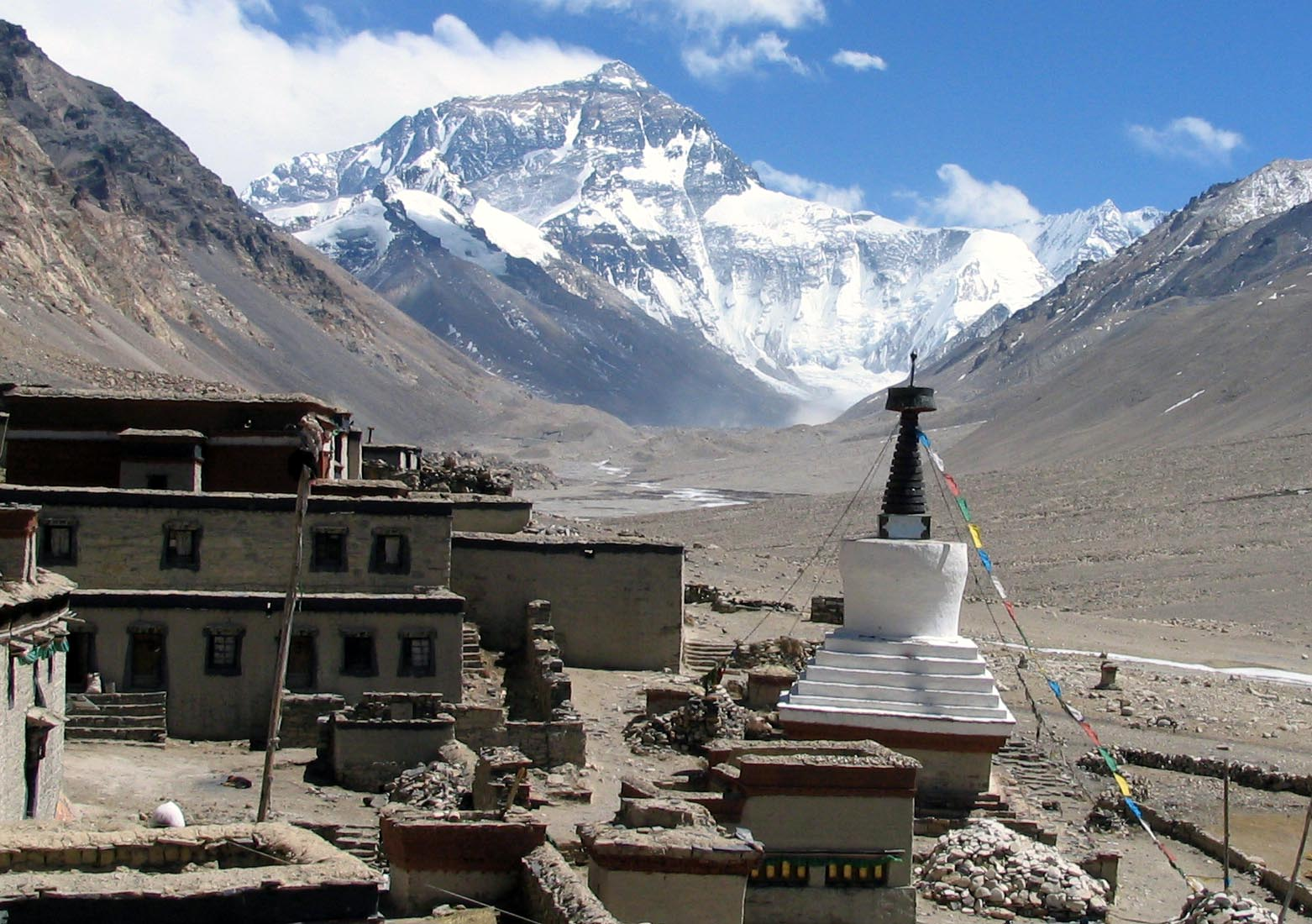 Image 1. Classic view of the Rongbuk Monastery, Tibet taken by me while on a trek to Advanced Base Camp of Mount Everest. Photo by Csearl.