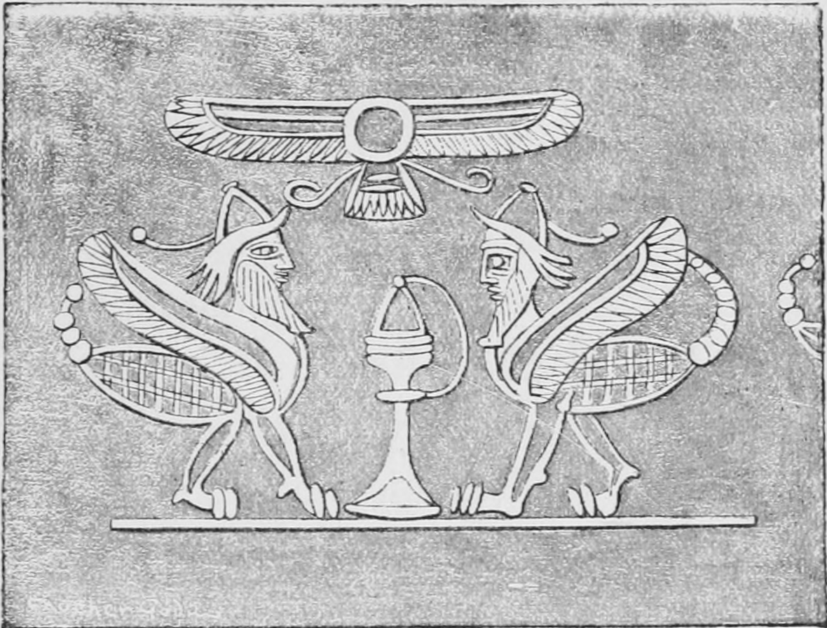 Image 2. Scorpion men encountered by Gilgamesh [??], who guard the mountain of Mashu, west of the Gilgamesh. Drawing by Faucher-Gudin from an Assyrian intaglio. Photographer not given.