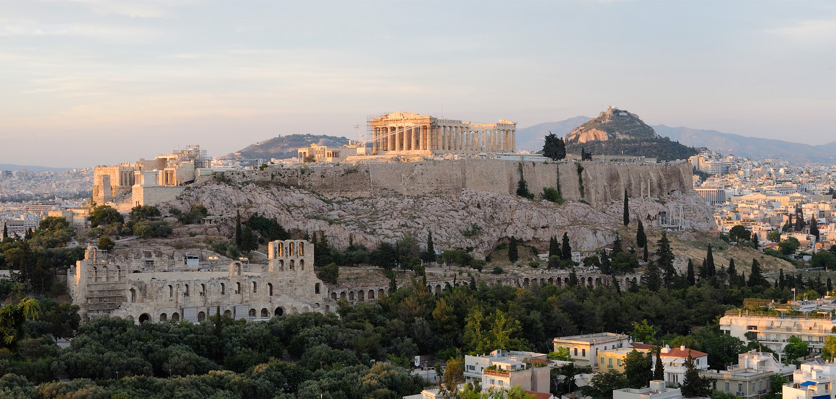 Image 16. The Acropolis of Athens [with Parthenon, the temple to Athena], seen from Philopappou hill . Photo by Christophe Meneboeuf.