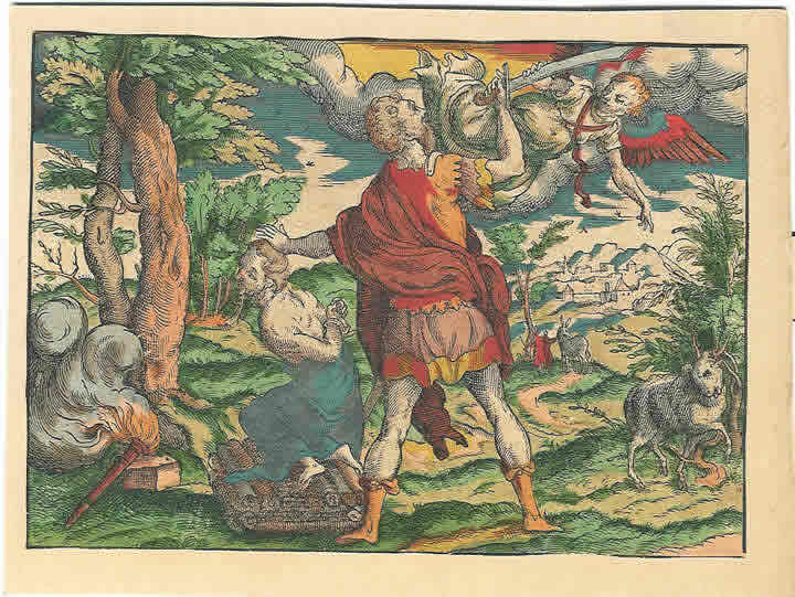 Image 7. The near sacrifice of Isaac by his father Abraham (the Akeda), woodcut from c1570 from a German Luther Bible by H. Lufft, Wittenberg. Scan by author.