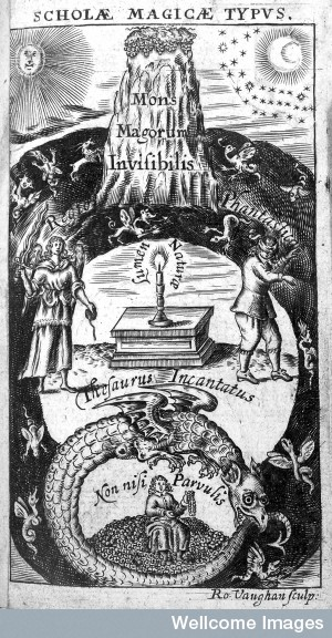 Image 6. From Thomas Vaughan's Lumen de Lumine, 1651, engraved by R. Vaughan, in the Welcome Library, London, UK, showing the Mons Majorum Invisibles. Photographer or Scanner not given. (title by author)
