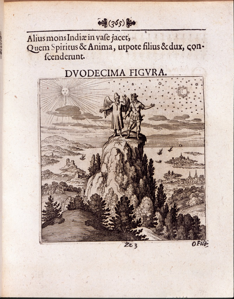 "Image 7. Duodecima Figura"" (Figure Twelve), engraved by Matthaeus Merian (1593–1650). Figure 12 from Lambsprinck's De Lapide Philosophico [On the Philosophers' Stone] as published in the Musaeum hermeticum, reformatum et amplificatum. Francofurti : Apud Hermannum à Sande, 1678. In Latin. Two male figures are standing on top of a tree-covered mountain. The being on the left has wings and a hat. The person on the right bears a sword. To their left is the sun, to the right is the moon. Below are lakes, sailing ships, and towns. The top of the page reads ""Alius mons Indiae in vase jacet"" which translates as ""Another mountain of India lies in the vessel"" The image caption is ""Quem Spiritus & Anima, utpote filius & dux, conscenderunt."" A translation would be: ""Spirit and Soul (shown) are acting as child and guide."" (Neither of the figures shown is literally a child.) Photographer not given."