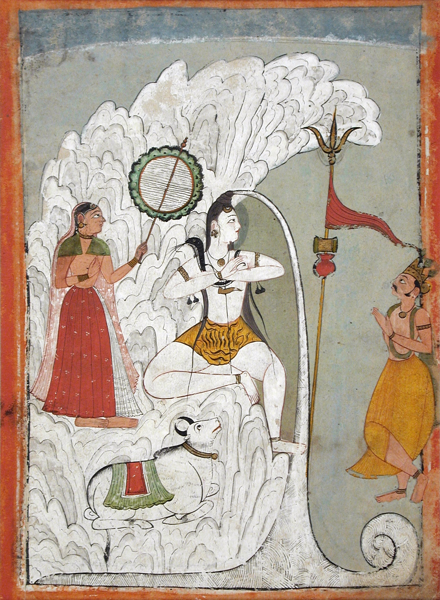 Image 5. Shiva Bearing the Descent of the Ganges River, folio from a Hindi manuscript by the saint Narayan. India, Himachal Pradesh, Guler, Bathu, ca. 1740 Drawings; watercolors Opaque watercolor, gold, and ink on paper Gift of Paul F. Walter (M.86.345.6) South and Southeast Asian Art of Los Angeles County Museum of Art. Photographer not given.