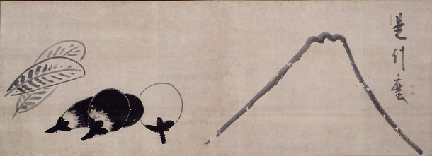 """Image 19. Crossed hawk feathers and eggplants and Fujiyama which are three symbols of revenge which, when appearing in a dream, indicate good luck. The calligraphy on a similar painting asks Fujiyama to take off her """"robe of haze"""" so the poet can see her """"skin of snow."""" By Hakuin Ekayaku. Photographer not given."""