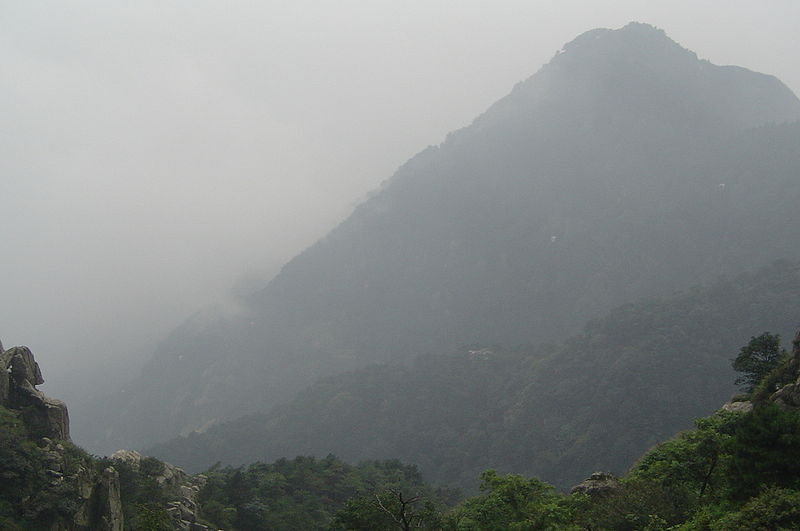 Image 7. Tài Shān (Mount Tài) - misty, Shandong Province, eastern China. Photographer not given, Summer 2004. (title edited by author)