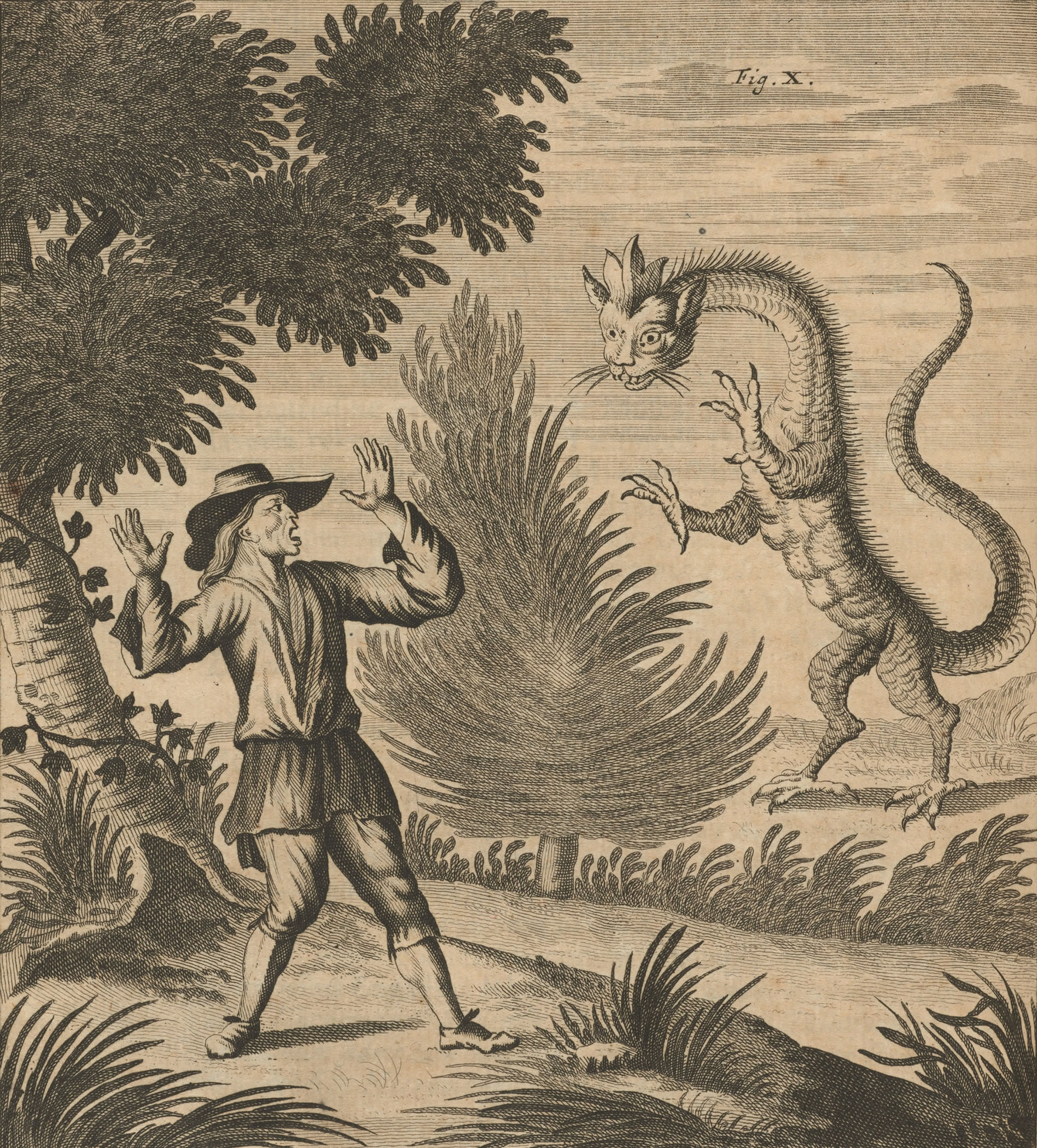 Image 2. Man confronting a Dragon, on or like the ones reported to be seen on the Alps, Johann Jakob Scheuchzer, Zurich, Switzerland, 1723. Source: Summits of Modern Man Image Gallery, 2: http://digitalcommons.wpi.edu/summits-images/2/. (title by author)
