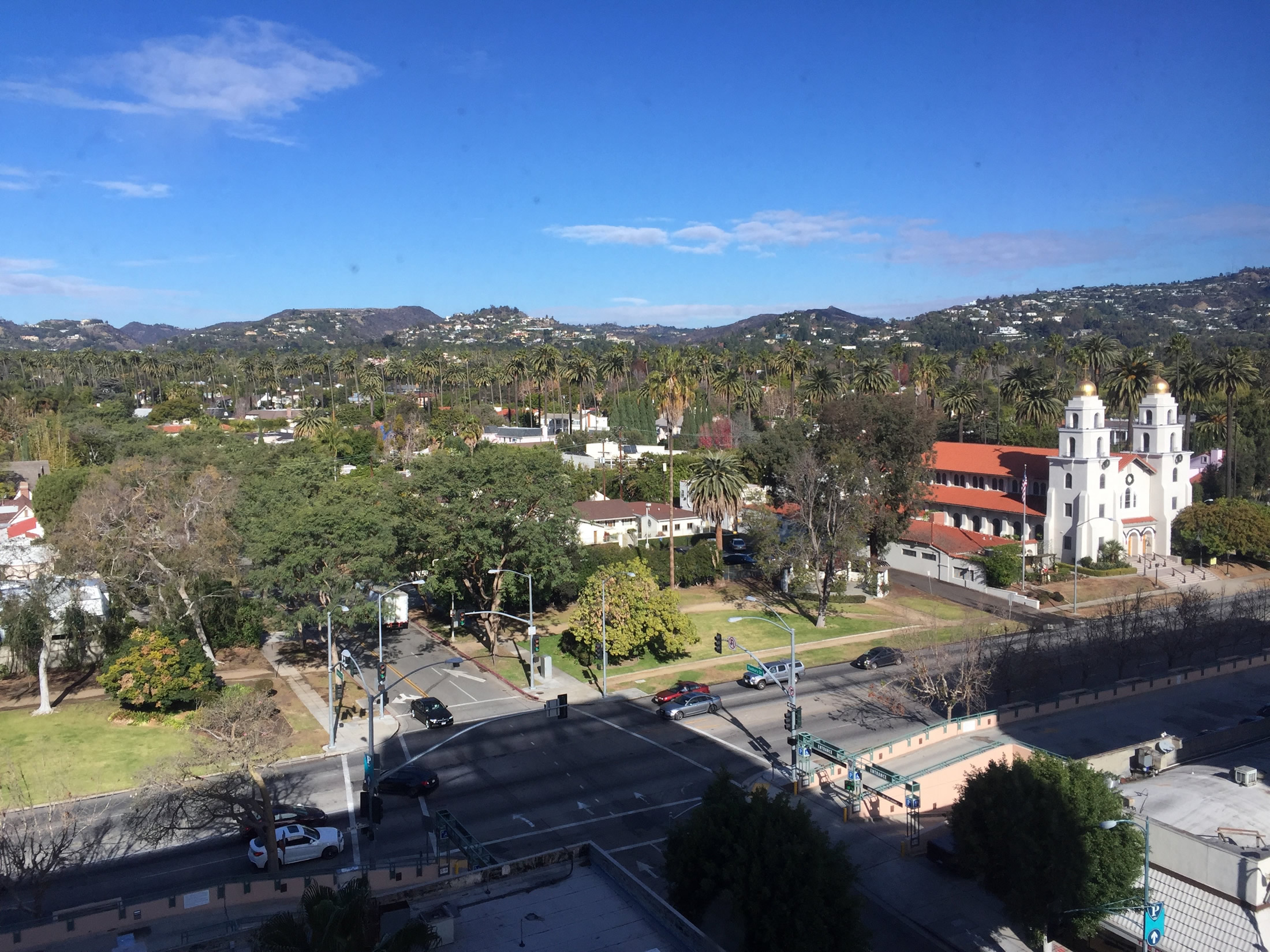 Image 16. Hills in the Santa Monica Range dotted with houses looking north from the window of a high rise building in Beverly Hills, California, USA. Photo by author, 4 January 2016.